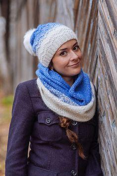 Комплект вязаный «Иней», шапка вязаная, шарф - снуд вязанный - комплект шапка и шарф