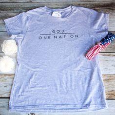 One Nation Under God Short Sleeve Shirt (Women's Fit)-ellyandgrace Usa Baby, God First, First Nations, Print Design, T Shirts For Women, Cricut Ideas, Shirt Ideas, Lady, Sleeve