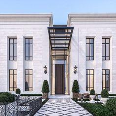 Classic House Exterior, Classic House Design, Dream House Exterior, Design Entrée, Facade Design, Exterior Design, New Classical Architecture, Modern Architecture House, Classic Architecture