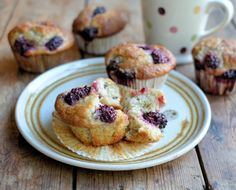 Blackberry Fairy Cake Buns (Muffins): These Blackberry Muffins, or buns, are studded with luscious fresh blackberries and can be made in under 30 minutes.