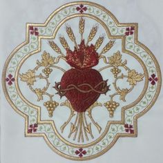 Consecration of Louis XVI, King of France, to the Sacred Heart of Jesus - Nobility and Analogous Traditional Elites Catholic Crafts, Catholic Art, Religious Art, Machine Embroidery Applique, Embroidery Patterns, Hand Embroidery, Jesus E Maria, Christian Artwork, Altar Cloth