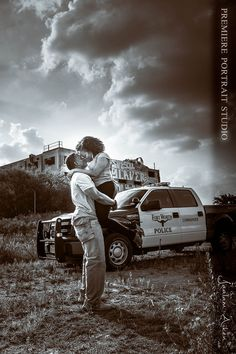Abandoned Building, Truck, Police, Law Enforcement,Engagement Shoot | Weddings by Jaalam Aiken | Wedding, Bridal and Engagement Photography in Dallas and Fort Worth.