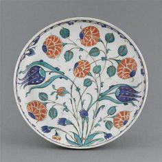 Dish with tulips and roses  1560-80  Iznik, Turkey  Fritware, painted underglaze slip decoration, transparent glaze
