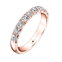 French Pave Rose Gold Love Story Diamond Wedding Band from Steven Singer Jewelers
