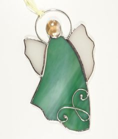 Stained Glass Suncatcher Angel 5 inch tall, green and white color glass, silver color metal, handmade Stained Glass Angel, Stained Glass Ornaments, Stained Glass Suncatchers, Angels Among Us, How To Make Ornaments, Silver Color, Decorative Bells, Green Colors, Glass Art