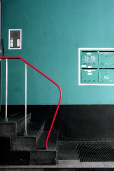 Contrast 10: Though small I think there is a lot of visual contrast between the blue/green wall and the red railing and also the upper half of the wall and the lower black half.