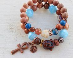 BoHo Buddha Bracelet set-Chakra Bracelet set-BoHo stack bracelets-Turquoise and copper-Vishuddha
