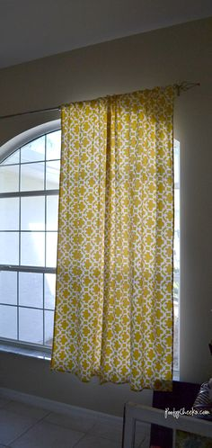 No Sew Curtain Tutorial by Poofy Cheeks/ Made from a tablecloth