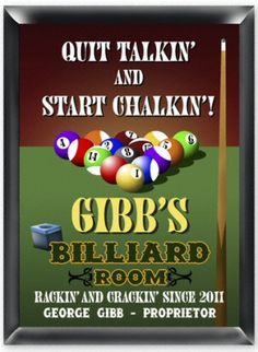 Billards Personalized Pub Sign is perfect for the man cave, garage, game room, over the bar or to hang on the wall of your bachelor pad. Our pub sign is printed in stunning color onto a composite wood base that is ready to hang. Personalized at no additional cost with first name, last name and year.