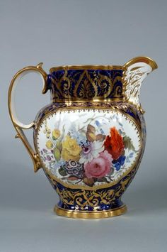 Coalport Porcelain Giant Jug with hand-painted flowers. Shrewsbury Museums Service