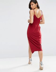 Image 2 of ASOS Crepe Wrap Midi Slip Dress