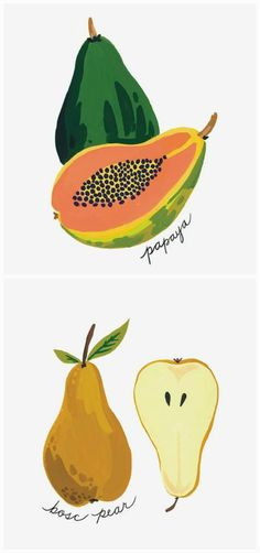 These hand-painted fruits would make a great addition to your kitchen gallery. The papaya and bosc pear are painted in vibrant hues, for artwork that is as visually delicious as the fruits themselves.
