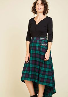 London is for Lovers Midi Skirt in Lake. Strolling through cobblestone streets, you catch your reflection in the window and fall evermore in love with your tartan skirt. #green #modcloth