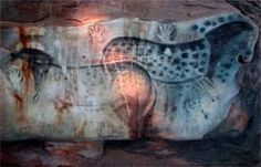 Dotted horses, with hands, from the cave at Pech Merle, France. Some date from the Gravettian culture (some 25,000 years BCE). But some of the paintings and engravings, however, may date from the later Magdalenian era (16,000 years BCE). (Scientists have now proven that the horses then were indeed dappled like this; it was not an artistic liberty. rw)