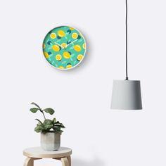 Lemon dots #redbubble #decor #buyart by designdn Clocks