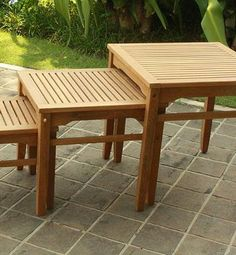 The All-natural Teak Nesting Tables will prove to be the most versatile tables you own year after year.
