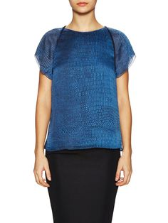 Printed Back Draped Top by Halston Heritage at Gilt