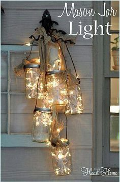 battery operated lights in jars haning from the tree would make great light for a bbq