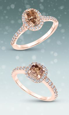 Natural Champagne Diamond and Diamond Halo Rose Gold Engagement Rings