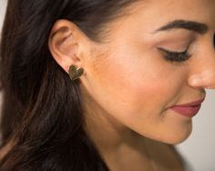 Gold and Silver Heart Stud Earrings
