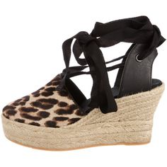 Pre-owned Tory Burch 2017 Elisa Wedge Espadrilles (305 PEN) ❤ liked on Polyvore featuring shoes, sandals, animal print, leather espadrilles, wedge heel sandals, wedge sandals, espadrille wedge sandals and tory burch sandals
