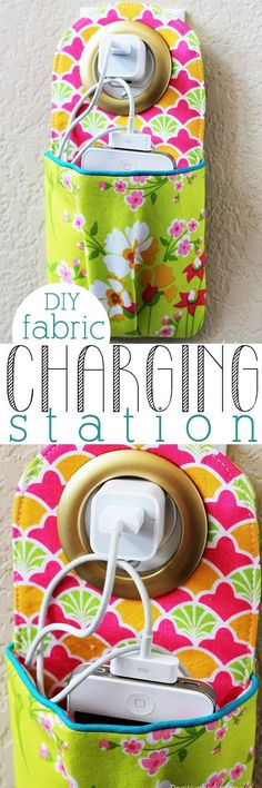 Hanging phone charging station sewing pattern and tutorial. This is such a great idea to keep cords contained!: