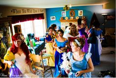Bride went as Ariel...bridesmaids were also Disney princesses. Such a cute idea!