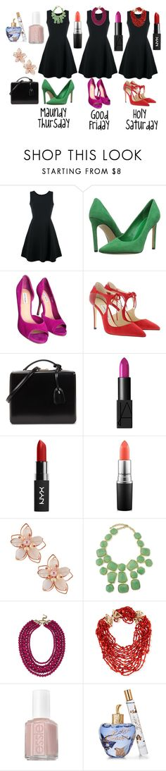 """Easter outfits"" by kacenka-1 ❤ liked on Polyvore featuring Emporio Armani, Nine West, Steve Madden, Jimmy Choo, Mark Cross, NARS Cosmetics, NYX, MAC Cosmetics, NAKAMOL and Kenneth Jay Lane"