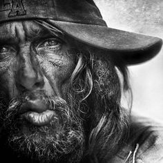 Black and White Portraits of Homeless People by Lee Jeffries Lee Jeffries, Moustache, Great Works Of Art, Homeless People, Homeless Man, Human Emotions, Black And White Portraits, Street Photo, Interesting Faces