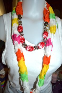 Jewelry scarf in bright colors with large beads by creatingwithni