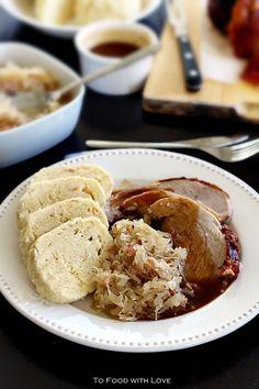 To Food with Love: Vepro-Knedlo-Zelo (Czech Roast Pork with Dumplings and Sauerkraut)
