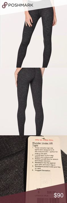 Lululemon Wunder Under HR Tight Sz6 Luon HthdBlack NWT Lululemon Wunder Under HR Tight  Size 6 Variegated Knit Brushed Luon Heathered Black  See tag in photo for full details. lululemon athletica Pants