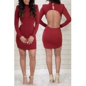 Fashionable O Neck Long Sleeves Backless Red Cotto