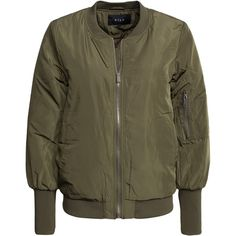 Vila Viconcrete Jacket ($76) ❤ liked on Polyvore featuring outerwear, jackets, dark green, womens-fashion, dark green jacket, bomber jacket, zipper jacket, tall jackets and flight jacket