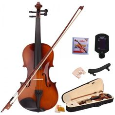 4/4 Natural Acoustic Student Violin Outfit with Shoulder Rest Extra Strings Bridge