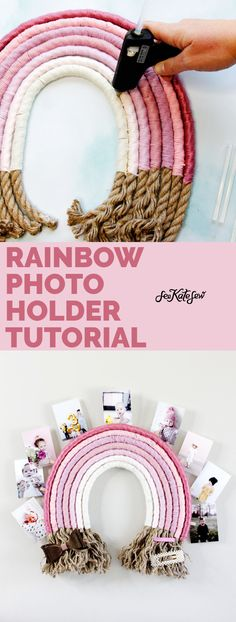 Photo Projects, Cool Diy Projects, Craft Projects, Photo Wall Hanging, Hanging Photos, Rainbow Photo, Fun Crafts To Do, Walmart Photos, Photo Holders
