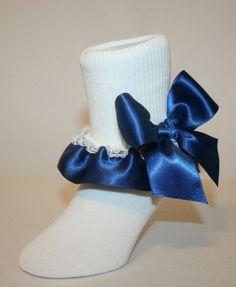 Navy Blue Organza Ruffle Bow White Socks Baby Girls Blue Ruffle Bow Socks Baby Ruffle Bow Socks Navy Blue Bow Socks Infant Ruffle Socks