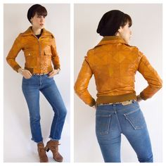 Camel Patchwork Leather Bomber!!