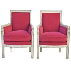 French Bergere Pair in Pink Velvet   From a unique collection of antique and modern bergere chairs at https://www.1stdibs.com/furniture/seating/bergere-chairs/