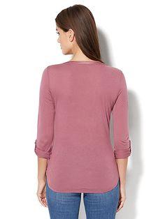 Knit & Woven Split-Neck Top - New York & Company