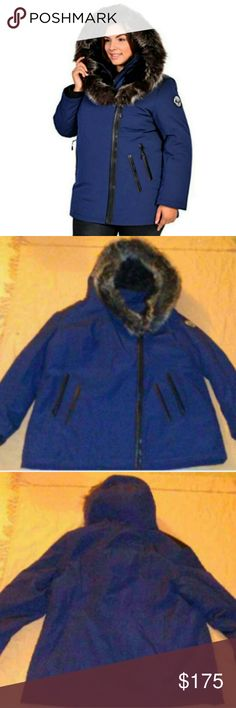 Artic Expedition Coat Brand new never worn navy blue with faux black leather trimming coat. It's like a cheaper version of a Canada goose....for those people like myself that want to be stylish & warm, but for a fraction of the price ;). I hear this also is a big seller in Canada too! It's very warm and great for the frigid tempts, but unfortunately  it's too small :(! Trust me the pics can't do this coat justice, & it looks even better in person :)! Jackets & Coats Puffers