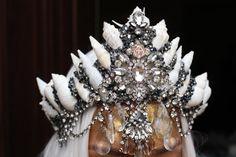 black beaded crown by chelseasflowercrowns on Etsy