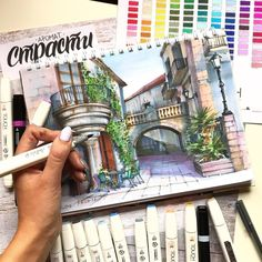 Beautiful Balconies. Architectural Drawings with Urban Sketches, come and see the video. By Katerina Kurtakova.