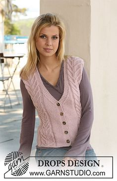 """Ravelry: Waistcoat with cables in """"Nepal"""" pattern by DROPS design Knitted Mittens Pattern, Knit Vest Pattern, Knit Mittens, Knitting Patterns Free, Free Knitting, Free Pattern, Knitting Needles, Crochet Patterns, Ravelry"""