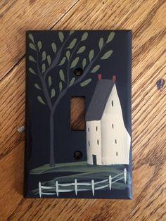 Primitive Hand Painted Black Switch Plate by HandPaintedByMara