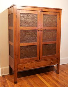 Antique Pie Safe, 12-Tin, Walnut, 1850-1899