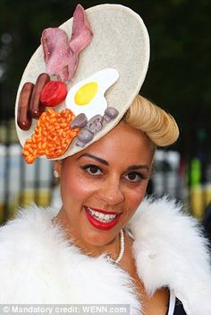 A fry-up provided inspiration for this lady's hat
