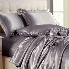 846add816c Luxury Silver Satin Sheet Set Jogo De Cama Prateado