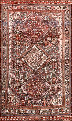 Antique Persian Tribal Qashqai Carpet 50035