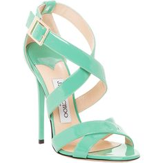 Jimmy Choo Patent Leather Xenia Strappy Sandal ($500) ❤ liked on Polyvore featuring shoes, sandals, heels, patent sandals, strappy heel shoes, mint green sandals, strappy heel sandals and patent shoes